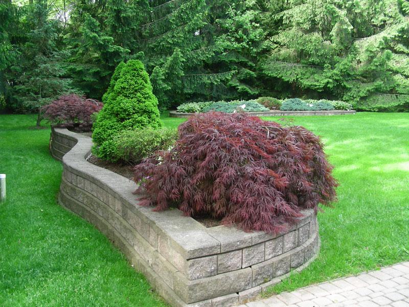 stone retaining wall rock garden