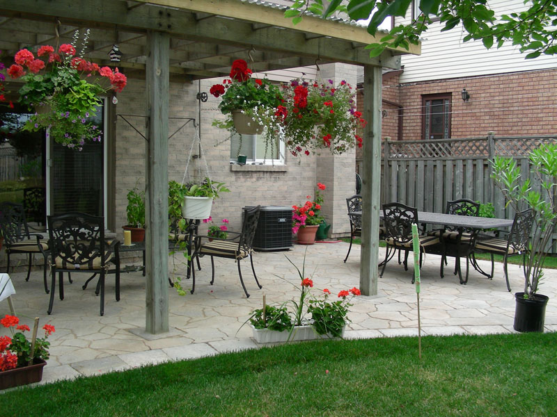 Stone Patio Interlocking Landscaping, Wood Gazebo