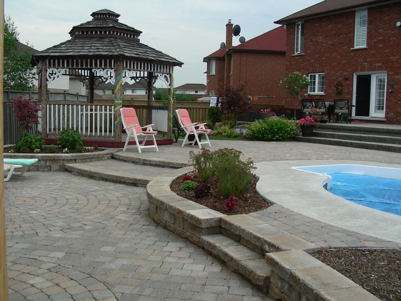 Stone Patio Interlocking Landscaping, Gazebo