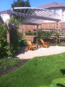 Stone Patio Interlocking Garden Landscaping, Wood Trellis