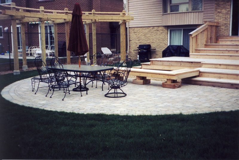 Stone Patio Interlocking Landscaping, Wood deck, Gazebo