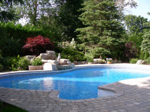Pool Stone Retaining Wall Landscaping, water falls