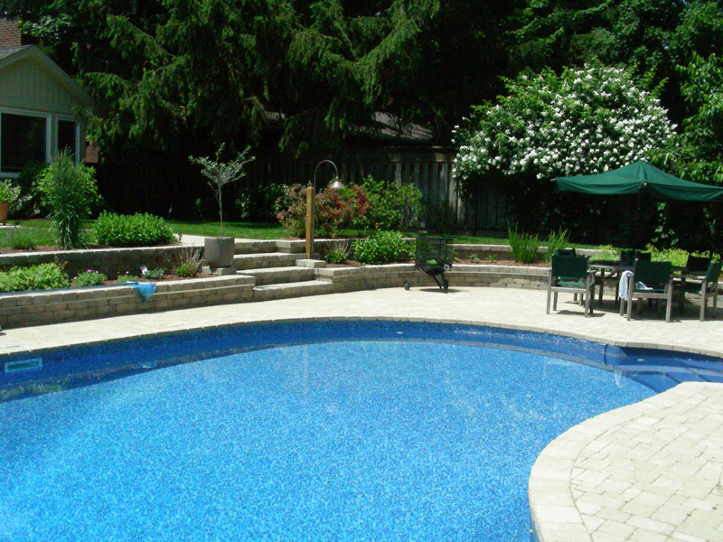 Inground Pool Landscaping Stone Retaining Wall