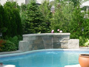 pool coping waterfall landscaping