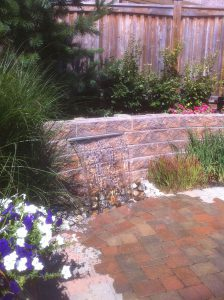 stone retaining wall and waterfalls