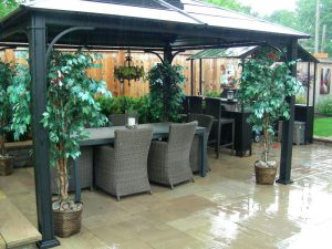 Interlocking patio backyard Landscaping