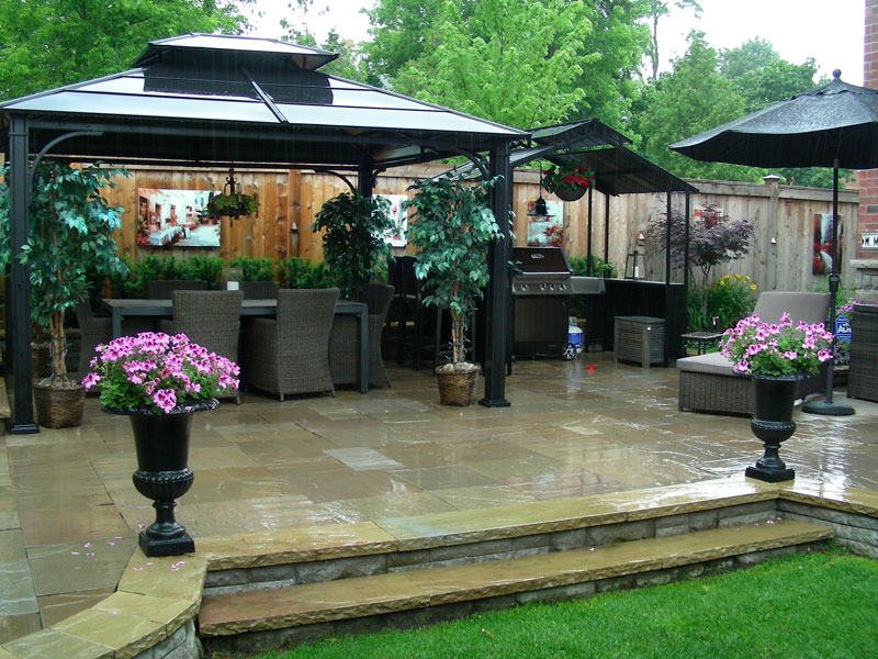 Interlocking patio backyard Landscaping, backyard kitchen