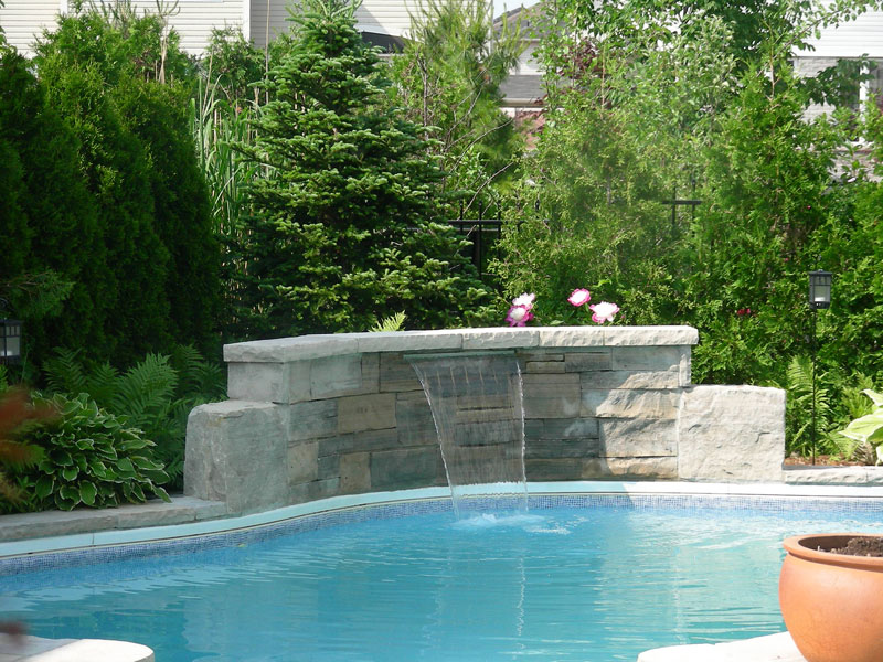 pool coping landscaping water falls
