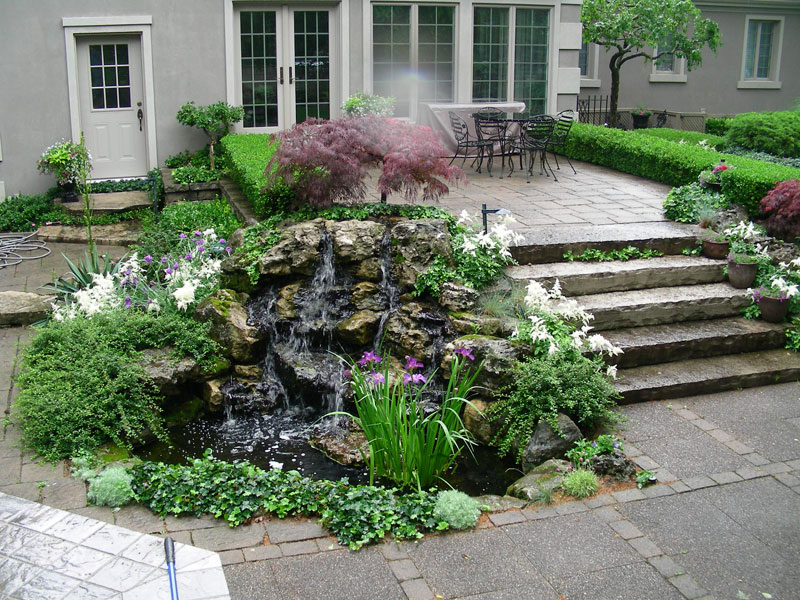 rock garden landscaping, water falls