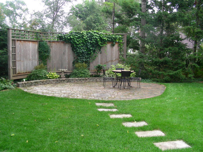 Interlocking patio backyard Landscaping