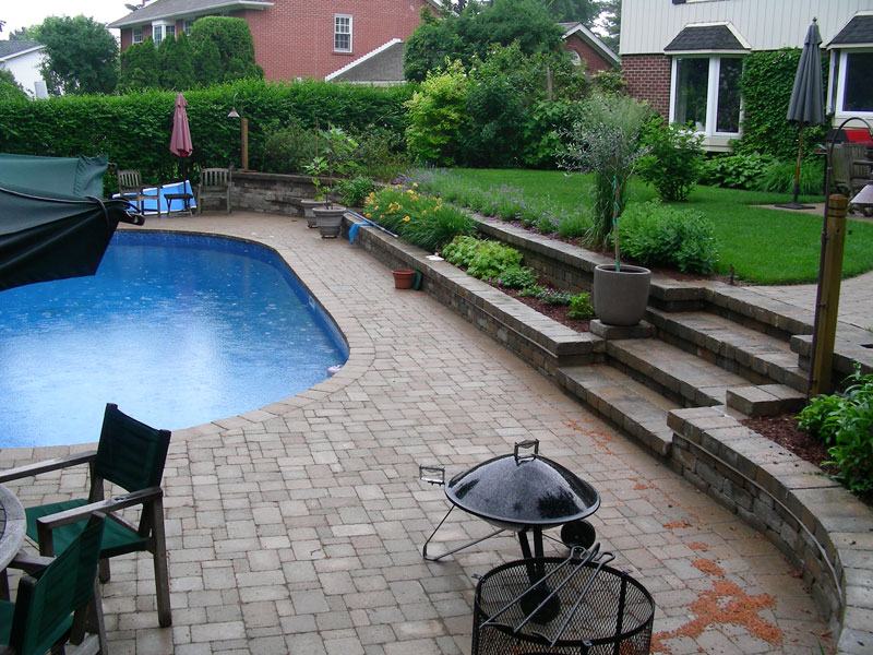 pool coping, retaining wall landscaping