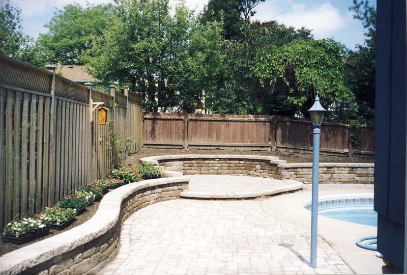 stone retaining wall, pool