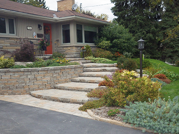 Retaining Wall, stone steps, front yard landscaping